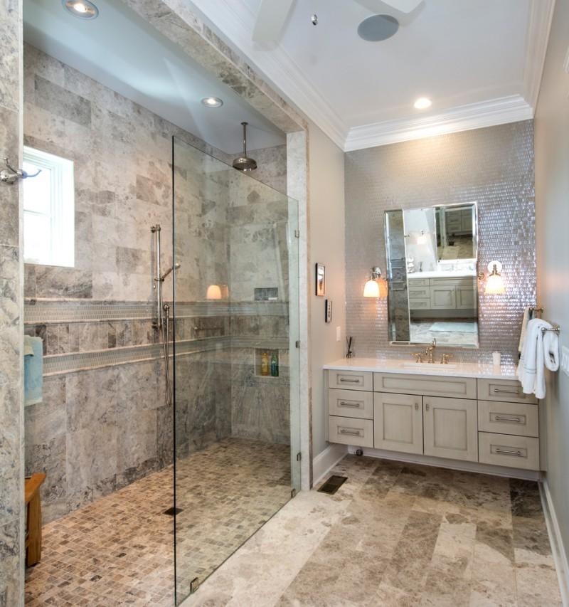 gray wall recessed panel cabinet mirror quartz countertop glass door slate floor stone floor