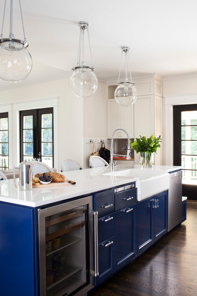 kitchen islands with sinks and dishwashers glass pendants blue kitchen island refrigerator drawers white sink faucet barstools