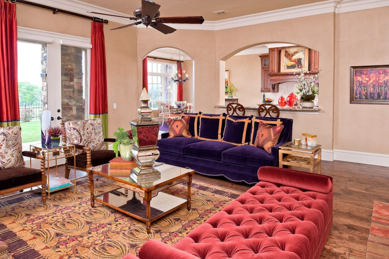 mirror tables for living room pink tufted daybed ceiling fan purple sofa wood flooring armchairs patterned rug glass door with white frames
