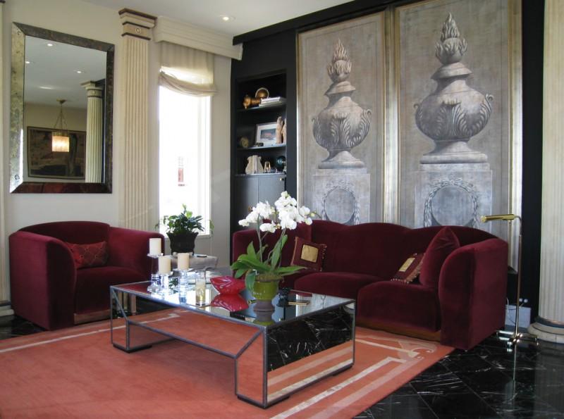 mirror tables for living room red velvet sofa and armchair orange area rug big rectangular wall mirror floor lamp built in shelves