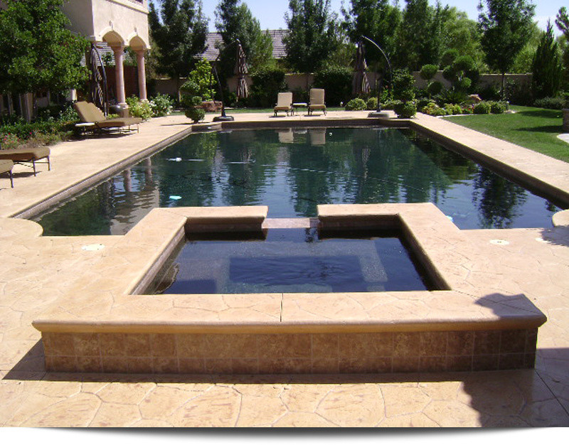 Ten Fascinating Ideas Of Rectangular Pool With Spa Decohoms