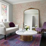 Round Pedestal Coffee Tables Floral Wallpaper White Tufted Sofa Purple Tufted Chair Big Mirror Floor Lamp Side Table Area Rug