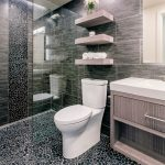 Stone Floor Stone Wall Marble Wall Glass Door One Piece Toilet Light Wood Cabinet Floating Shelves Sink Mirror