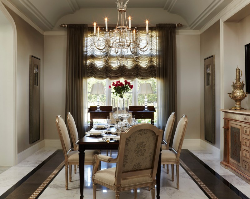 victorian dining table chandelier beige chairs window brown gray curtains white table lamps floor tile antique decoration