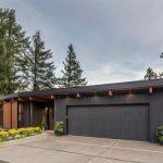 Wooden Garage Dark Garage Eaves Lighting Concrete Pavement Flowers House Number