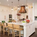 Yellow And Grey Decoration Backsplash Range Hood Glass Pendant Lights White Cabinets And Island Barstools White Countertops