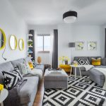 Yellow And Grey Decoration Framed Wall Artworks Black And White Rug Round Mirrors With Yellow Frame Grey Sofa And Ottoman