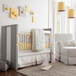 Yellow And Grey Decoration Wall Decor Yellow Pendant Lights Grey Baby Bed Grey Chevron Bedding Curtain And Armchairs Grey Basket