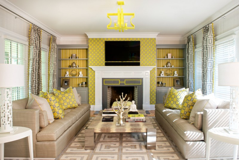 yellow and grey decoration wallpaper yellow chandelier fireplace sofas gold coffee table curtains area rug windows table lamps