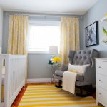 Yellow And Grey Decoration Yellow And Grey Curtains Porcelain Wall Plate And Bedding Stripe Rug Drawers Window Tufted Armchair