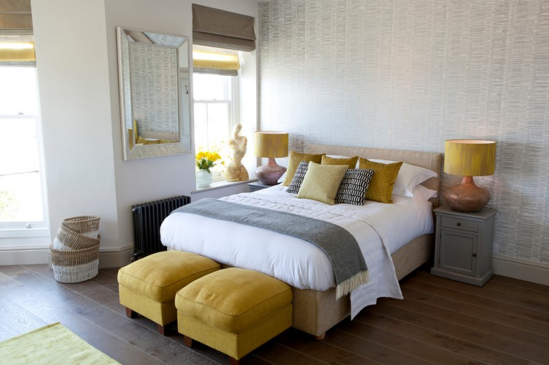 yellow and grey decoration yellow ottoman grey wallpaper roman shade bed grey nightstands yellow table lamps yellow flowers mirror