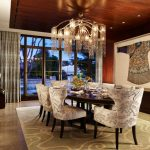 Asian Dining Table Asian Wall Decoration Big Chandelier Wooden Dining Table Dining Chairs Area Rug Glass Doors And Windows Curtains