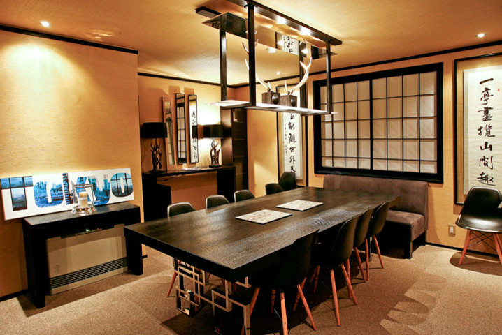 asian dining table black dining table unique legs lighting black chairs black framed window grey couch decoration black table lamps