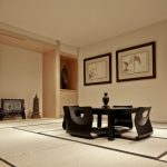 Asian Dining Table Black Wooden Dining Table Black Floor Chairs Black Framed Beige Artwork Asian Decorations Windows Shade Area Rug