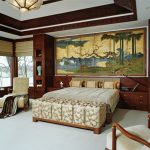 Chinese Home Decorations Chinese Panel Headboard Built In Cabinet Patterned Bench Grey Bed Armchair Grey Carpet Chandelier Windows