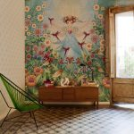 Chinese Home Decorations Colorful Wall Painting Wood Beams Wooden Console Antique Chair Wooden Door Patterned Floor Tile