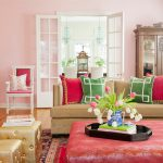 Chinese Home Decorations Shabby Chic Living Room Features Green And Red Throw Pillows Pink Ottoman Tray Red Mediterranean Rug Stools