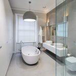 Freestanding Tub Gray Wall Gray Pendant Light Wall Mount Toilet Flat Panel Cabinet Vessel Sink Towel Rack Mirror Window Cover