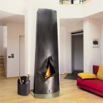 Freestanding Wood Burning Fireplace Unique Fireplace Wood Storage Wooden Flooring Red Couch Yellow Throw Pillows White Wall
