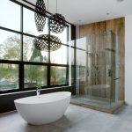 Full Height Glass Widow Coral Pendant Lights Dark Lights Freestanding Tub Shower Wall Concrete Floor