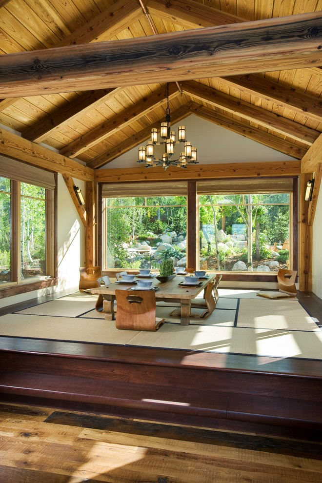 japan style dining table tatami wooden vaulted ceiling chandelier windows window shade floor chairs area rug wooden stairs