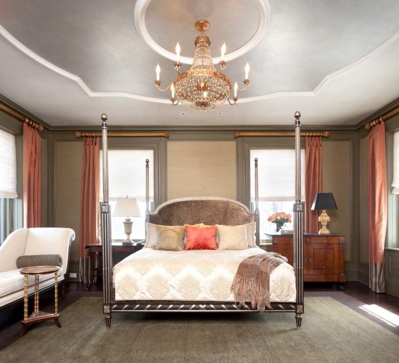 mansion master bedroom chandelier grey ceiling white trim windows coral curtains bed headboard vintage carpet nightstands