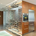 Modern Wine Cellar Built In Oven Built In Refrigerator Beige Dloor Area Rug Clear Glass Wine Cellar Wooden Drawers