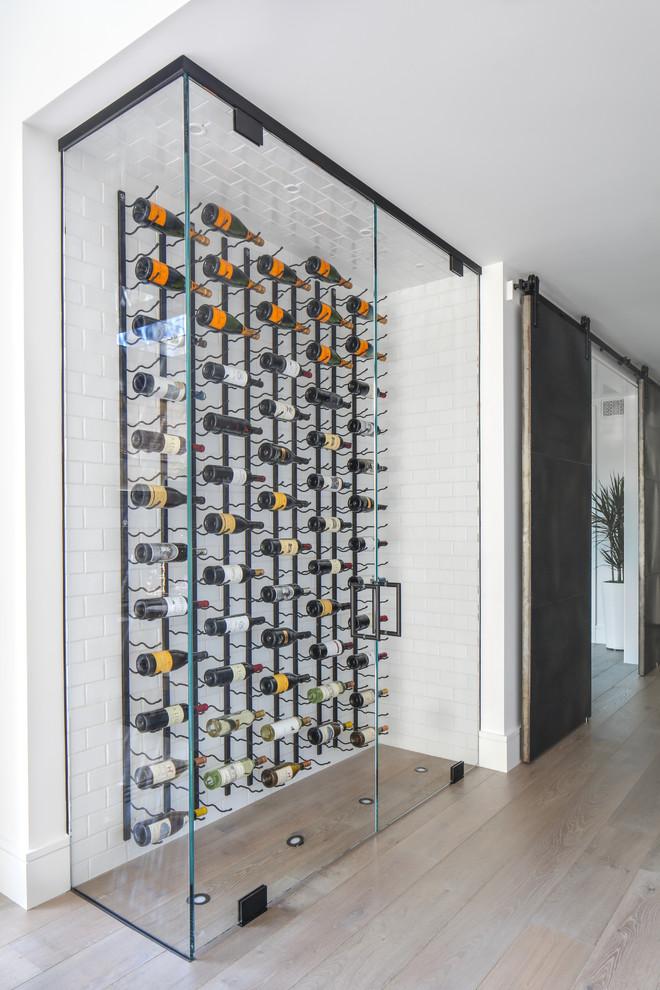 modern wine cellar glass wine cellar doors white wall white brick accent black barn sliding door plant wood floor