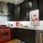 Red And Black Kitchen Black Kitchen Cabinets White Countertops Red Oven Range Hood Stove Red Mixer Red Knobs Backsplash