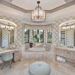 Vanity Bath Chandelier Wallpaper Built In Tub Ottoman Windows Drop In Sink Tiled Floor