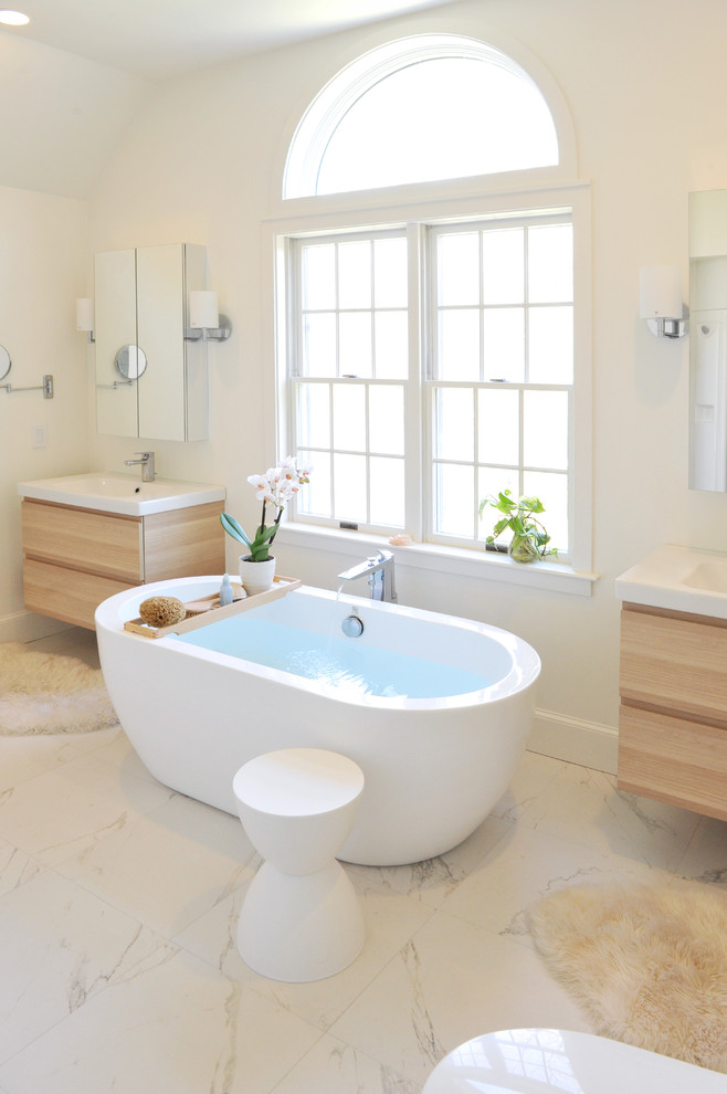 bathroom vanity refacing freestanding tub ikea wood vanity windows white walls mirrored cabinets white side stool