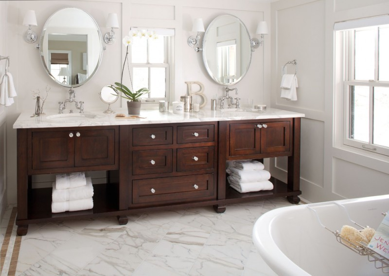 bathroom vanity refacing wooden vanity drawers open shelving mirrors white tub wall sconces marble top windows towel rings