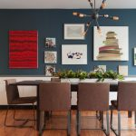 Brown Dining Room Chair Artworks Industrial Chandelier Brown Dining Table Dark Ble Wall Wooden Flooring Iron Chair Legs