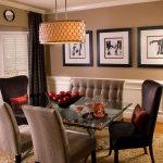 Brown Dining Room Chair Chandelier White Black Artworks Curtain Window Brown Shag Rug Glass Dining Table Brown Wall White Window