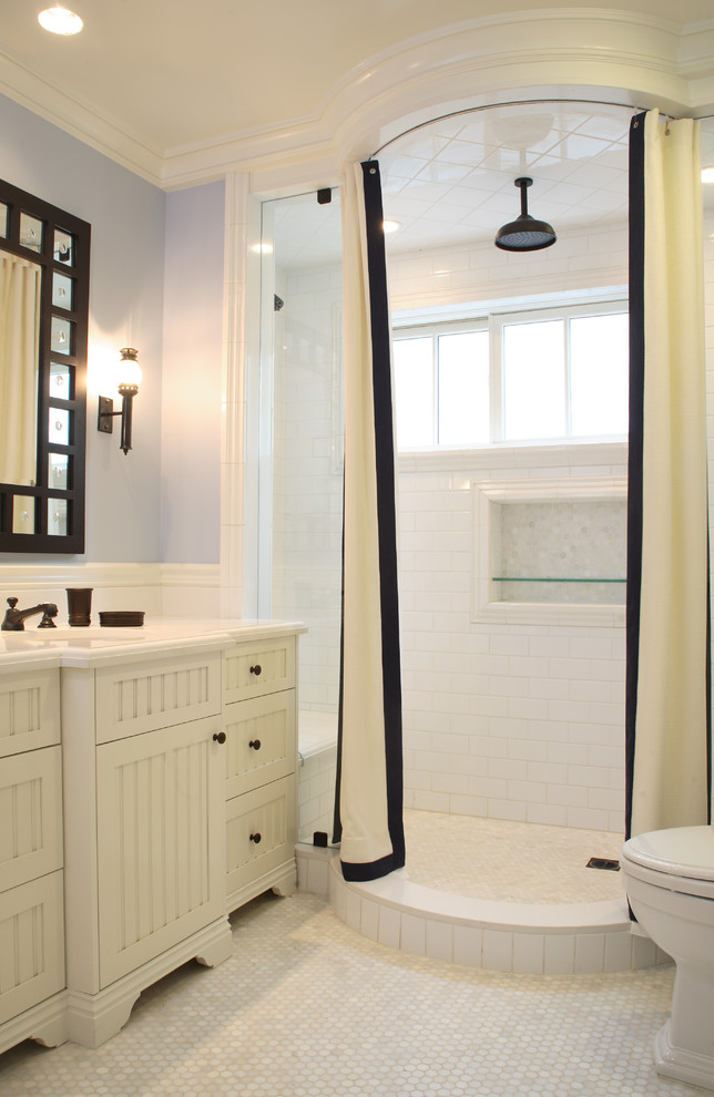 ceiling track shower curtain curved curtain track white and black curtains white tile wall sconce mirror white cabinet