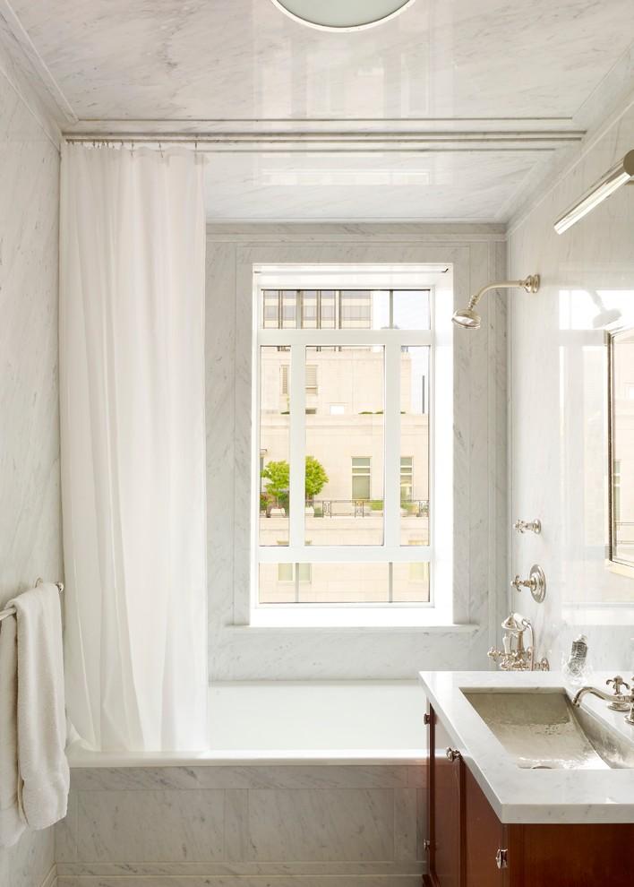 ceiling track shower curtain marble slab ceiling walls white window shower head white curtain bathtub vanity sink towel