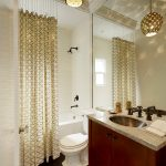 Ceiling Track Shower Curtain Patterned Curtain Chains White Tile Black Shower Head Chandelier Big Mirror Black Faucet Sink