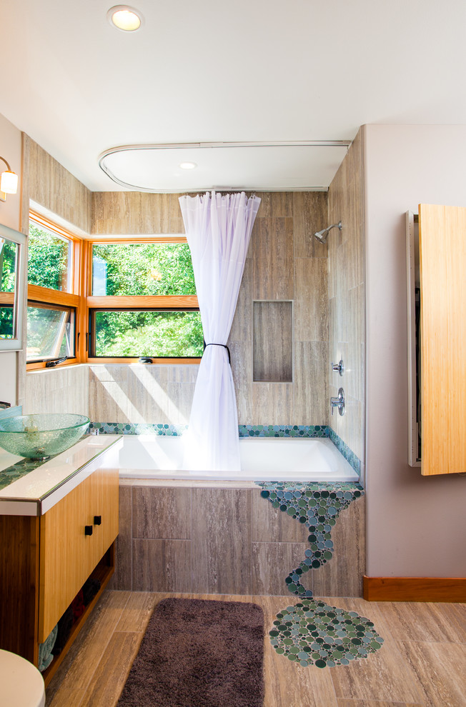 ceiling track shower curtain white shower curtain shower head faucet white tub windows wooden vanity glass sink bowl