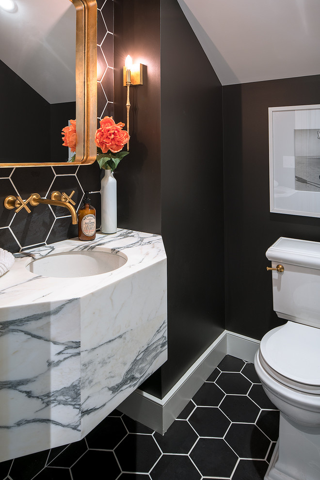 decorative wall tiles black hexagonal tiles wall sconce mirror marble sink gold wall mounted faucet black walls