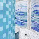 Decorative Wall Tiles Blue Tiles Mosaic Blue Tiles White Floor Tiles Shower Head Built In Tub Recessed Lighting Sea Colored Bathroom Tiles