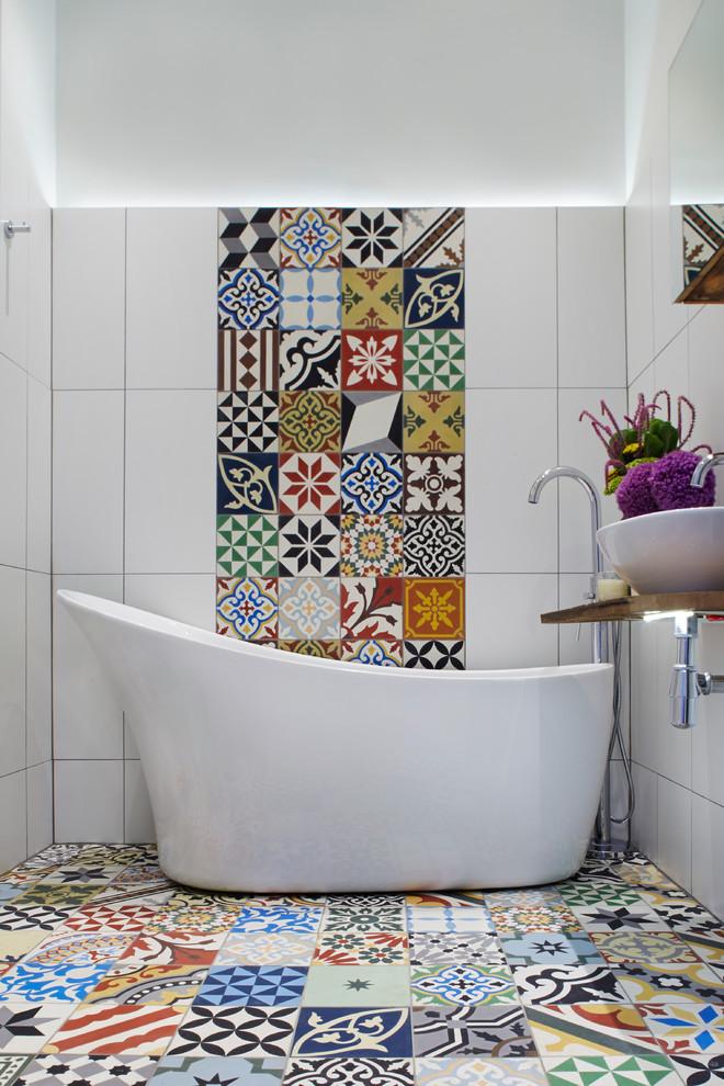 decorative wall tiles encaustic tiles freestanding bathtub tub filler backlighting white porcelain sink bowl mirrored cabinnet