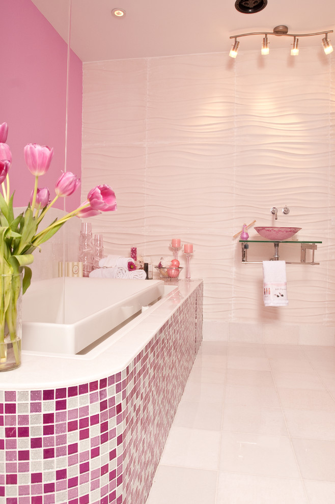 decorative wall tiles pink and white glittered tiles pink textured wall built in bath tub wall mounted glass sink bowl mounted faucet towel bar