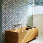 Decorative Wall Tiles Wooden Tub Wall Mounted Tub Filler Frosted Glass Shower Doors Grey Geometric Tiles Windows Beige Floor Tiles