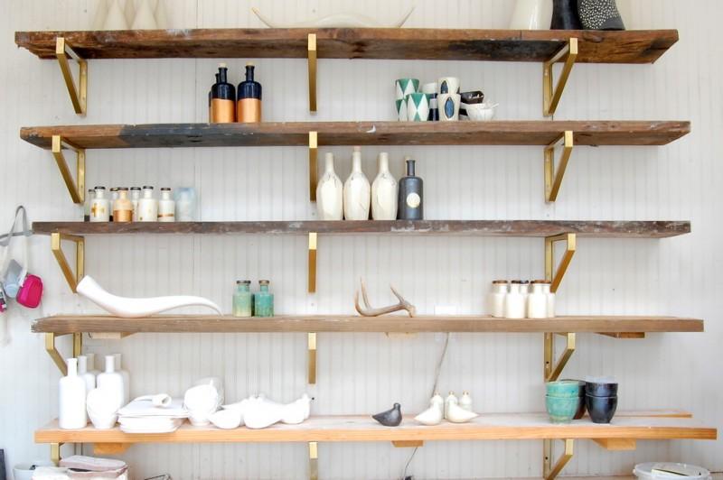 diy wooden shelf bracket gold sprayed shelves brackets wooden shelves white wallpaper countertop bottles decorations