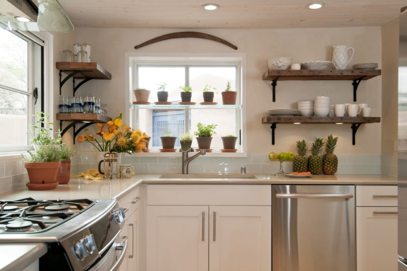 diy wooden shelf bracket windows beige walls cabinets wooden shelves dishwasher stove oven sink glasses lighting