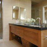 Double Vanity Wall Mirror Black Granite Countertop Rattan Basket Sinks Faucets Glass Shower Door Beige Floor Tile