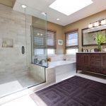 Double Vanity Wall Mirror Wall Sconce Custom Mirror Sinks White Top Bath Tub Glass Shower Door Window Shade Rug
