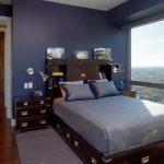 Full Storage Platform Bed Dark Brown Wooden Bed Nightstands Shelves Grey Bedding Silver Drawers Knobs Wall Sconces