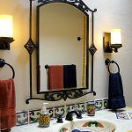 Iron Mirror Frame Wall Sconces Black Iron Towel Rings Colorful Vanity Tile Undermount Sink Colorful Soap Bottle Faucet