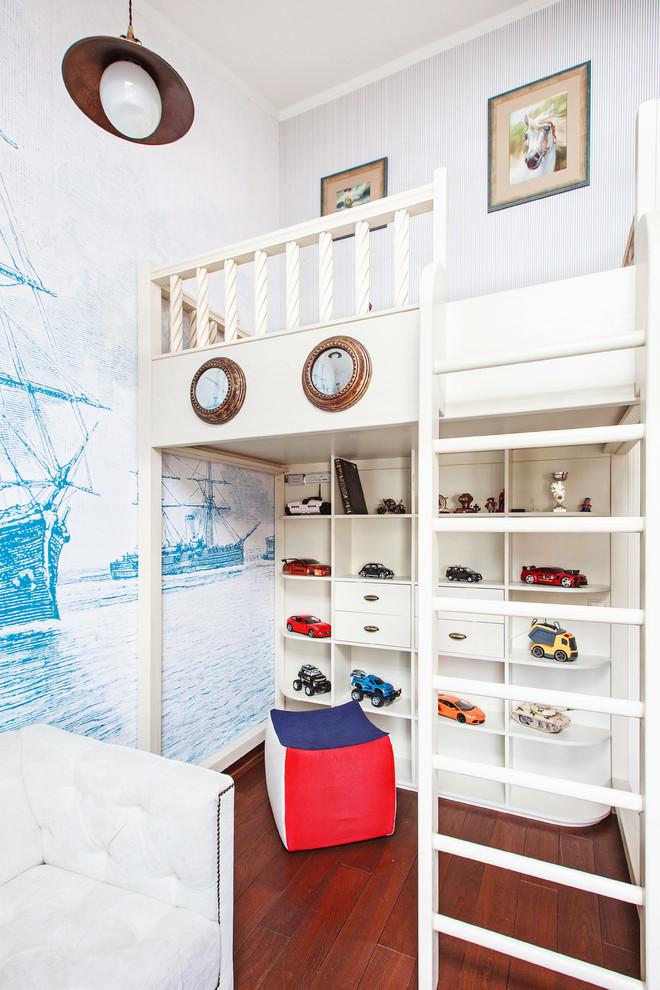 kids white loft bed colorful bean bad built in white shelves toys display drawer pendant lamp wallpaper white tufted sofa